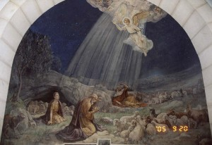 Betlehem. A Mennyből az angyal freskó a Pásztorok Templomában.