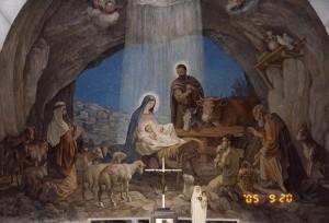 Betlehem. A pásztorok látogatását ábrázoló freskó a Pásztorok Templomában