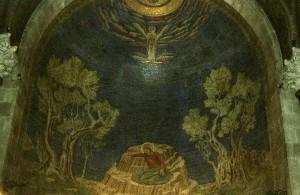 Jerugsálem, Getszemáni-kert. Jézus Krisztus Urunk vérrel verejtékezését ábrázoló, és magyarország által adományozott mozaik.