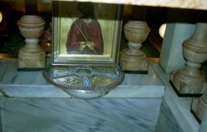 Jeruzsálem, Szent Sír-templom, Keresztrefeszítés-kápolna.  Szent Kereszt helye a Golgota szikláján.