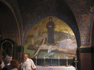 Jeruzsálem, Szent Sír-templom. A Golgota szikláján a Keresztrefeszítés-kápolnában.