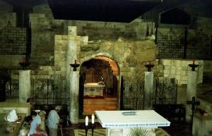 Názáret, Angyali Üdvözlet Bazilika. Szűz Mária házának maradványai.